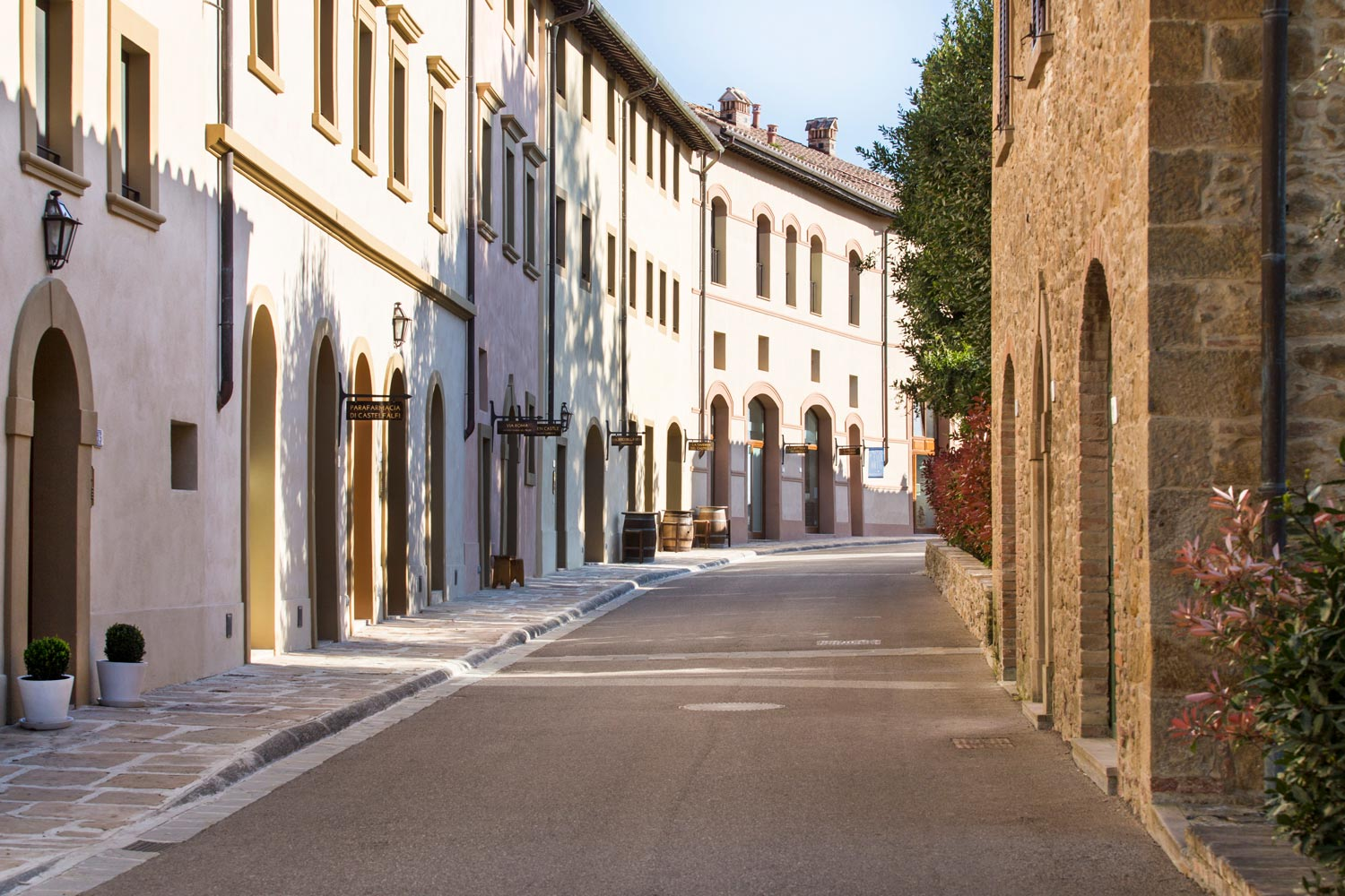 The beautiful central street of the medieval borgo in Castelfalfi, Italy